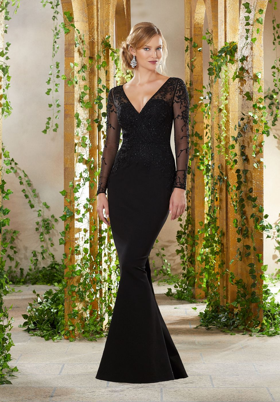 11332c9dce3c ... the sweetheart bodice and the illusion V-neckline of this MGNY by Mori  Lee 71910 jersey evening gown with long illusion sleeves. This full-length  fitted ...