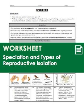 A 3 Page Worksheet That Covers The Basic Evolutionary Concepts Of Speciation And Including Ways Isolation Can Occur Geographic