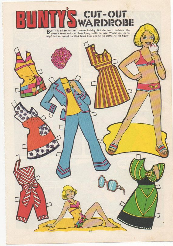 vintage paper doll buntys cut out wardrobe by sadiescissorhand