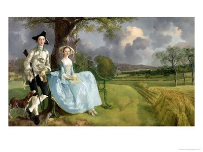 Mr and Mrs Andrews by Thomas Gainsborough - a portrait with in a landscape painting, unusual for the time!/ 인물은 그림의 가장자리로 밀려 풍경의 보완적 요소처럼 그려져 있음. 풍경에서 시적인 분위기와 다정한 연인의 사랑이 조화. 낭만적 느낌.