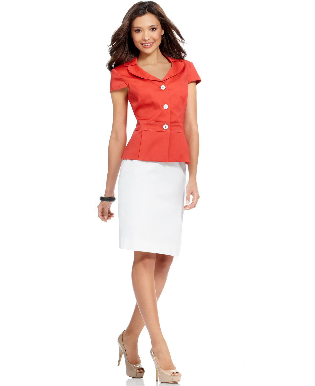 Calvin Klein Suit Short Sleeve Contrast Stitched Jacket Skirt