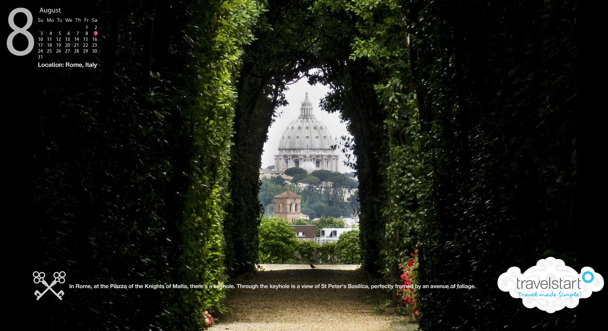 Download me! August Wallpaper featuring the keyhole view from the Priory of the Knights of Malta