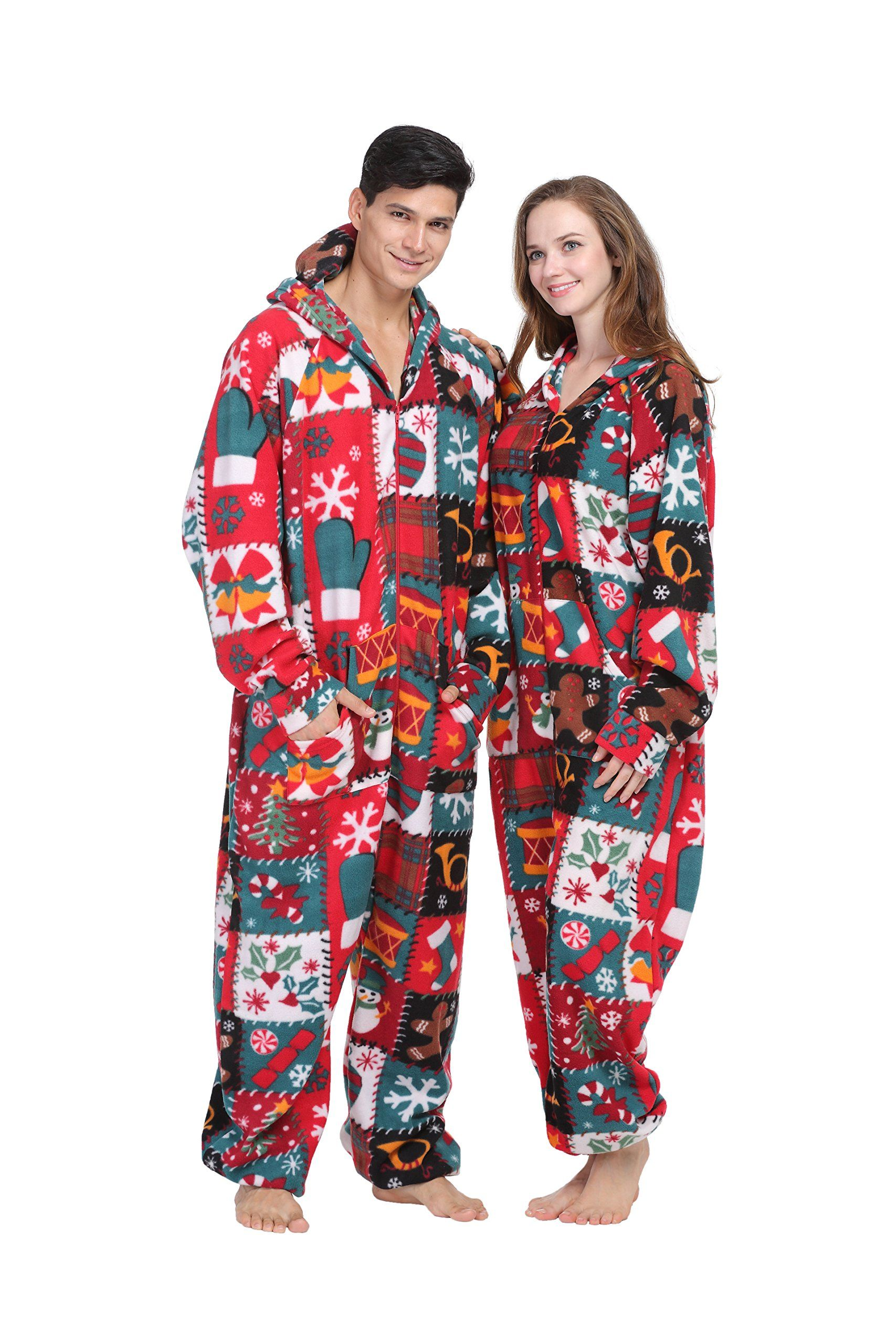 party pajama womenu0027s u0026 menu0027s fleece hooded one piece pajamas uglyparty pajama womenu0027s u0026 menu0027s fleece hooded one piece pajamas ugly christmas