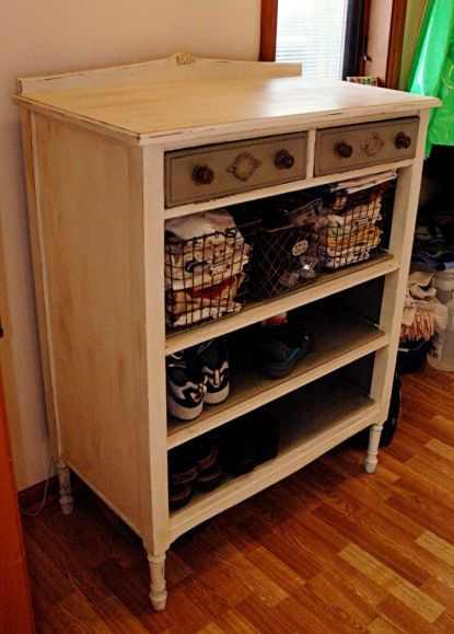 Old Dresser minus drawers=great storage