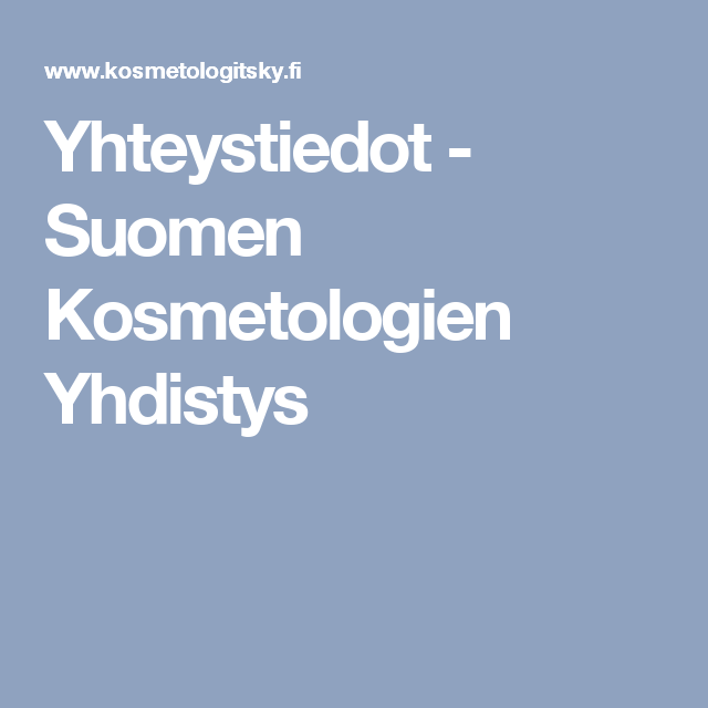 Yhteystiedot - Suomen Kosmetologien Yhdistys