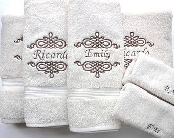 Set Of 6 Personalized Bath Towels Hand Towel Bathroom