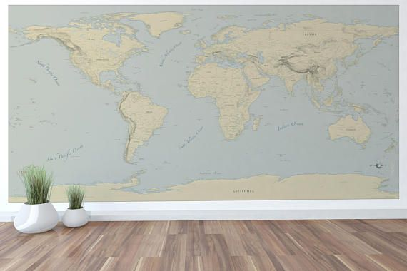 Giant World Map Mural Stylish and Educational World Map Wall Art World Map Decal 96x48 with Cities and more! #worldmapmural