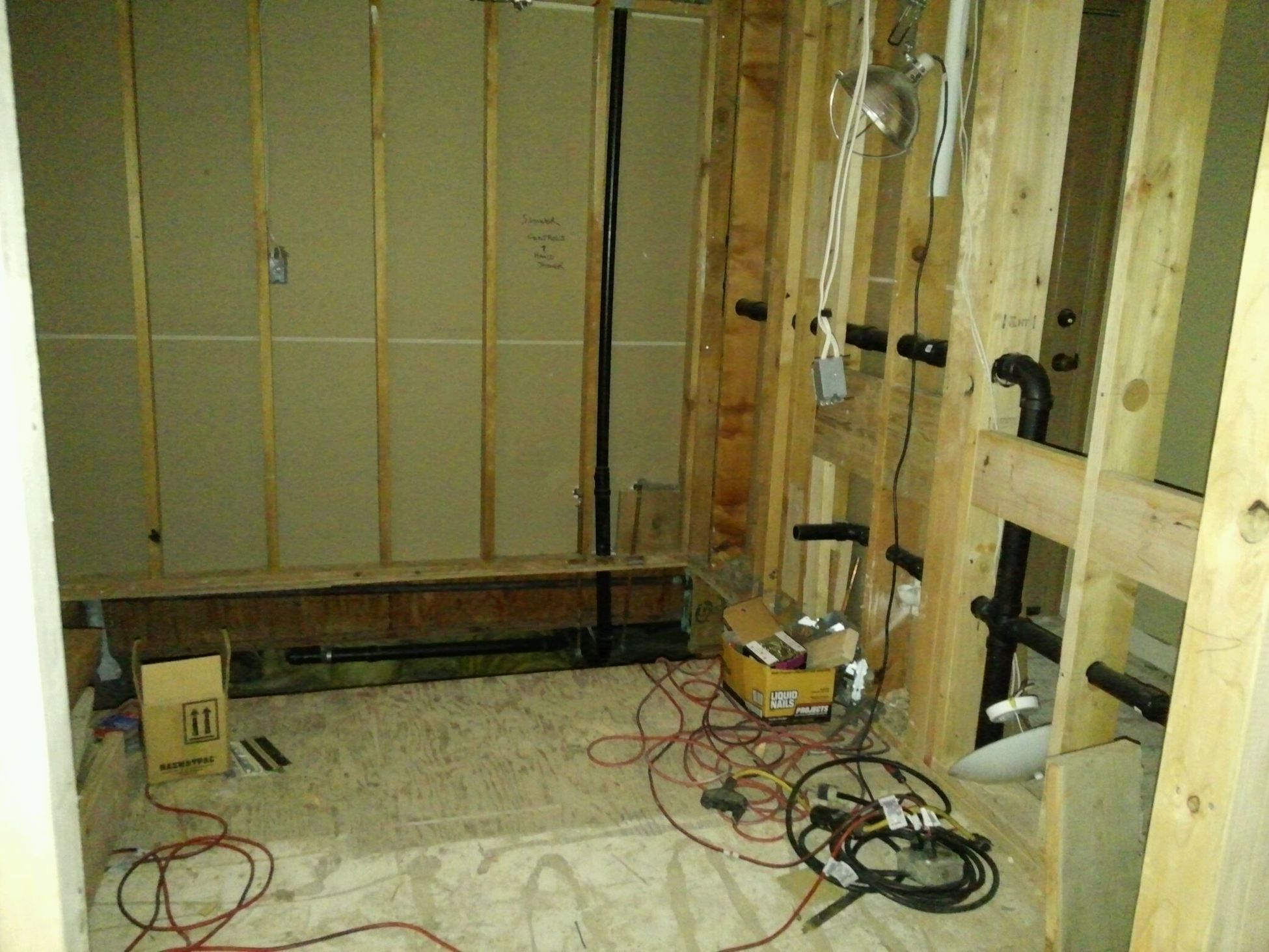 Bathroom Floor Is Being Lowered To Accommodate Shower Will Electrical Wiring Behind Wall Have Ceiling