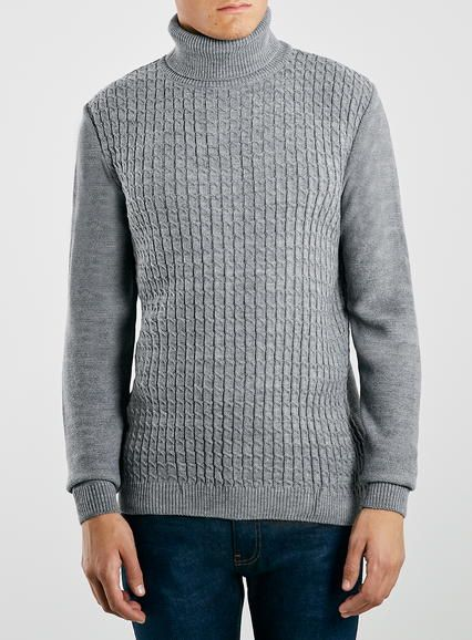 Grey Marl Cable Knit Roll Neck