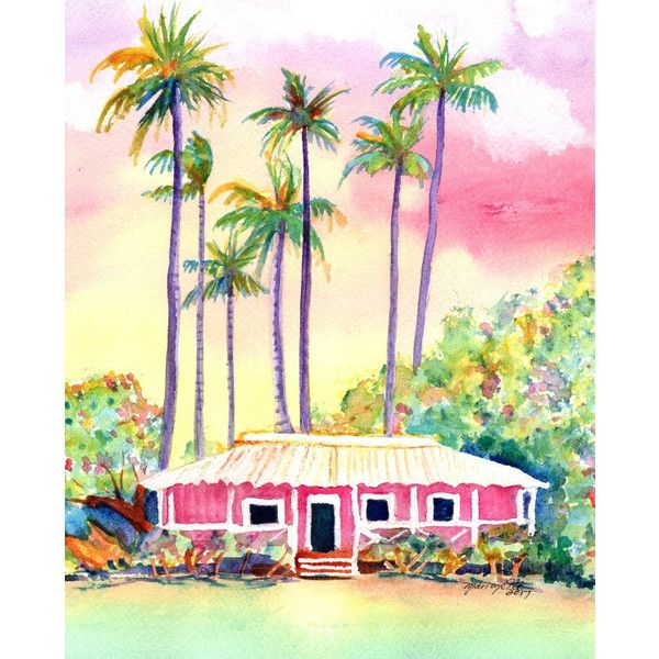 Pink Cottage, Kauai Plantation Cottages, Original Watercolors ...
