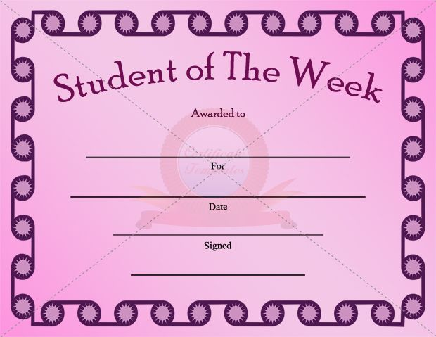 Student Of The Week Certificate Template  Student Certificate