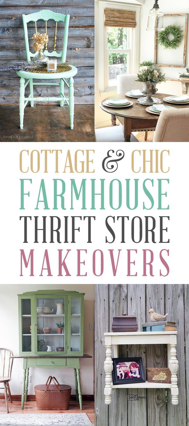 Cottage and Chic Farmhouse Thrift Store Makeovers - #chic #Cottage #Farmhouse #Makeover #Makeovers #store #Thrift #thriftstoreupcycle
