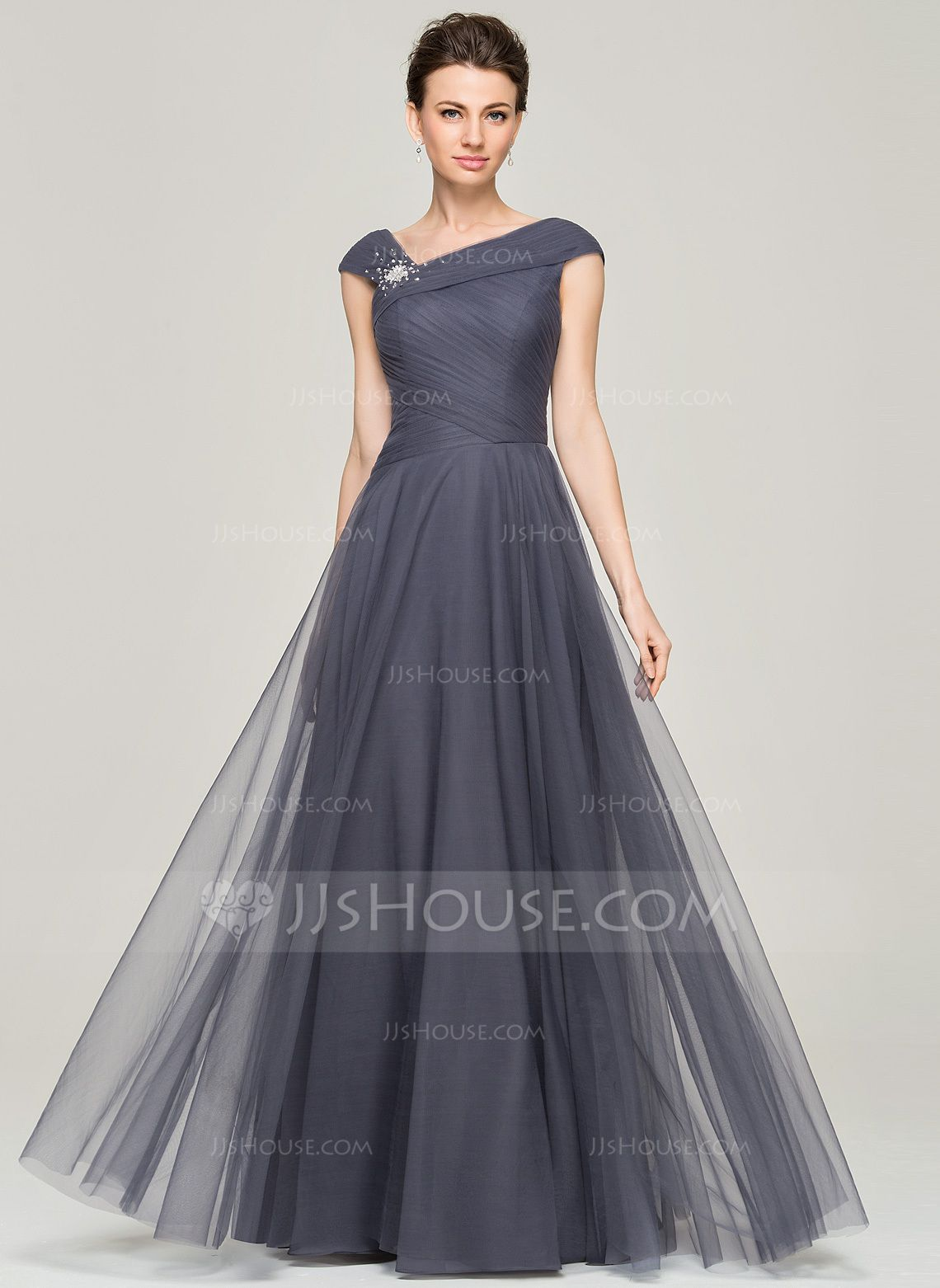 911f13863ec A-Line Princess V-neck Floor-Length Tulle Mother of the Bride Dress With  Beading Sequins (008062861) - JJsHouse