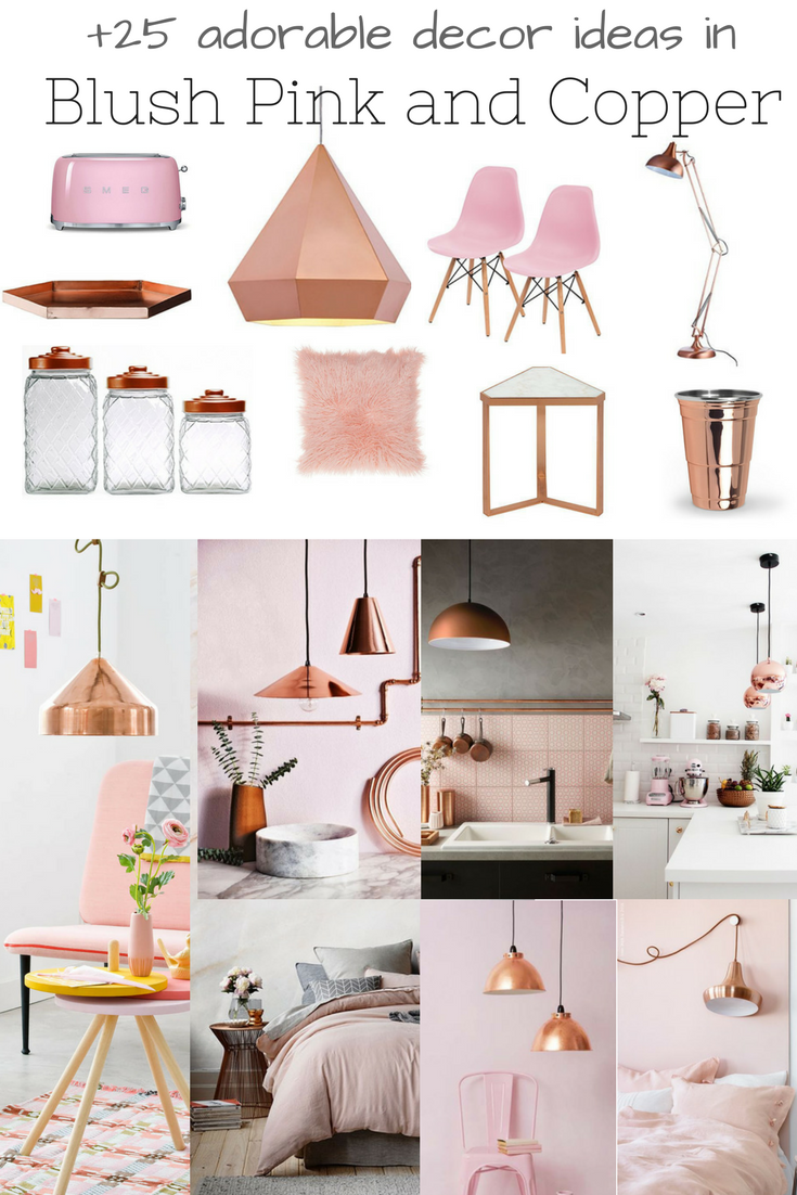 25 Adorable Decor Ideas In Blush Pink And Copper Pink Dining Rooms Pink And Grey Kitchen Pink And Copper Bedroom