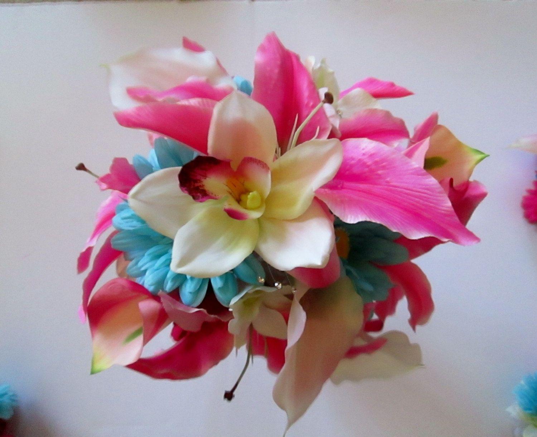 Hot Pink And Aqua Blue Bridal Bouquet Wedding By Shannonkristina