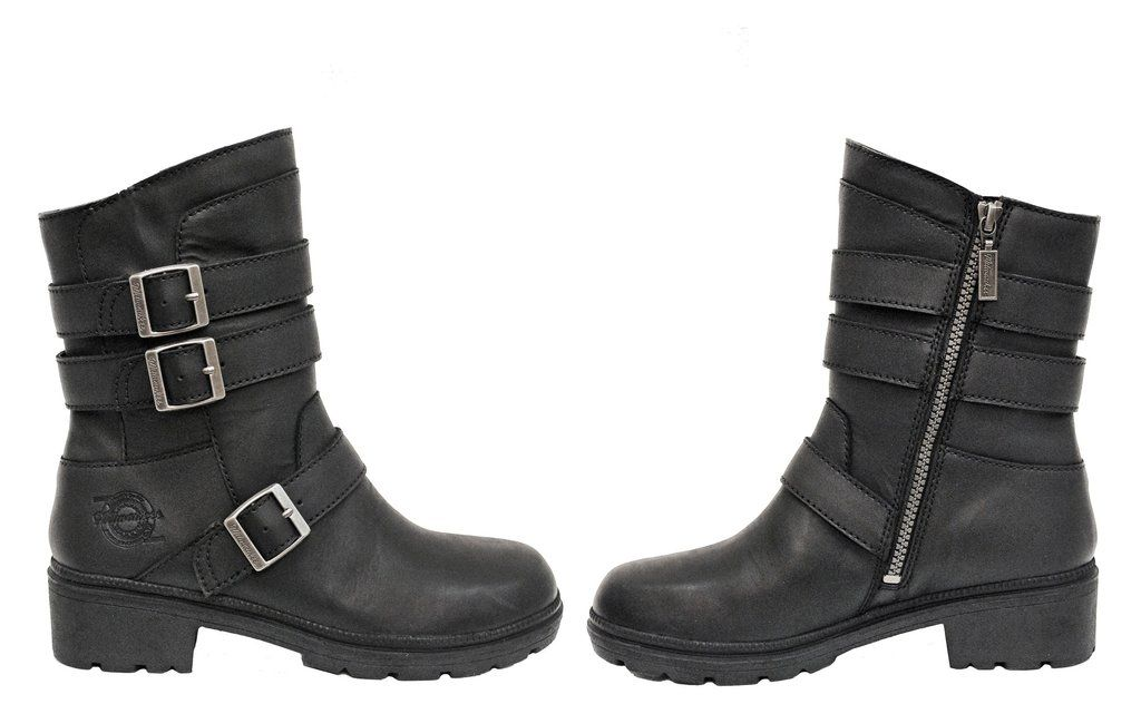 Milwaukee Leather Womens Classic Motorcycle Boots Black, Size 7.5