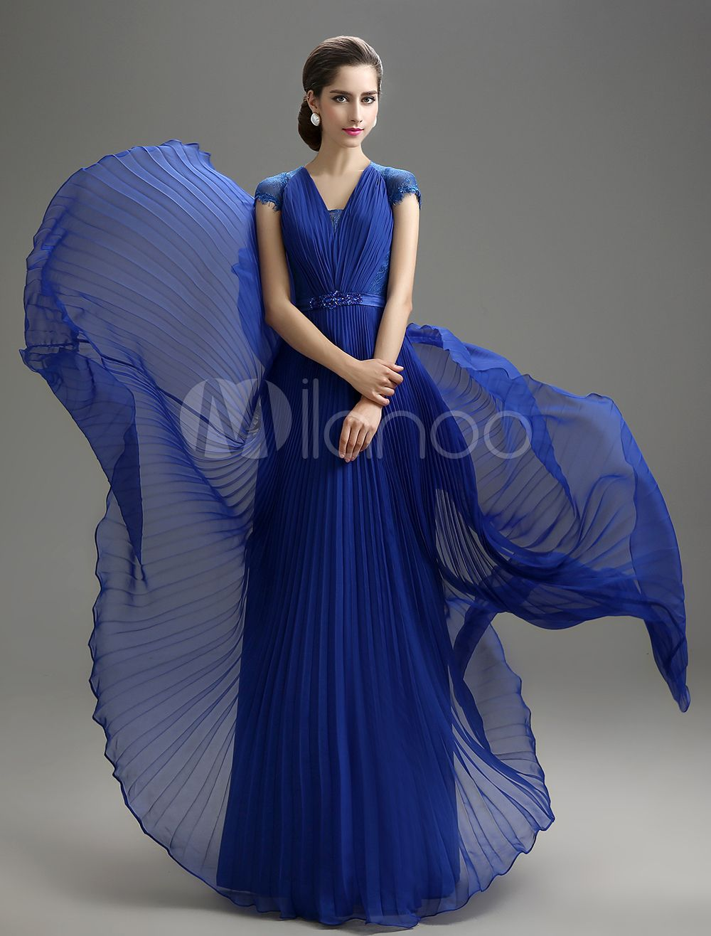 Royal blue vneck chiffon mother of the bride dress milanoo