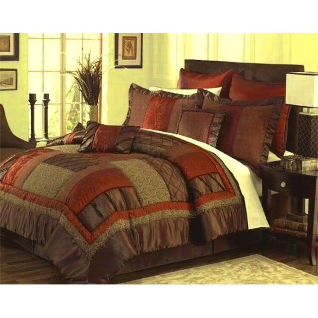Burnt Orange Comforter Set, Brown Rust Colored Bedding