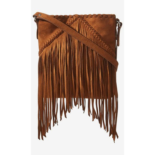 Express Faux Suede Fringe Cross Body Bag 40 Liked On Polyvore Featuring Bags Handbags Shoulder Brown Purse