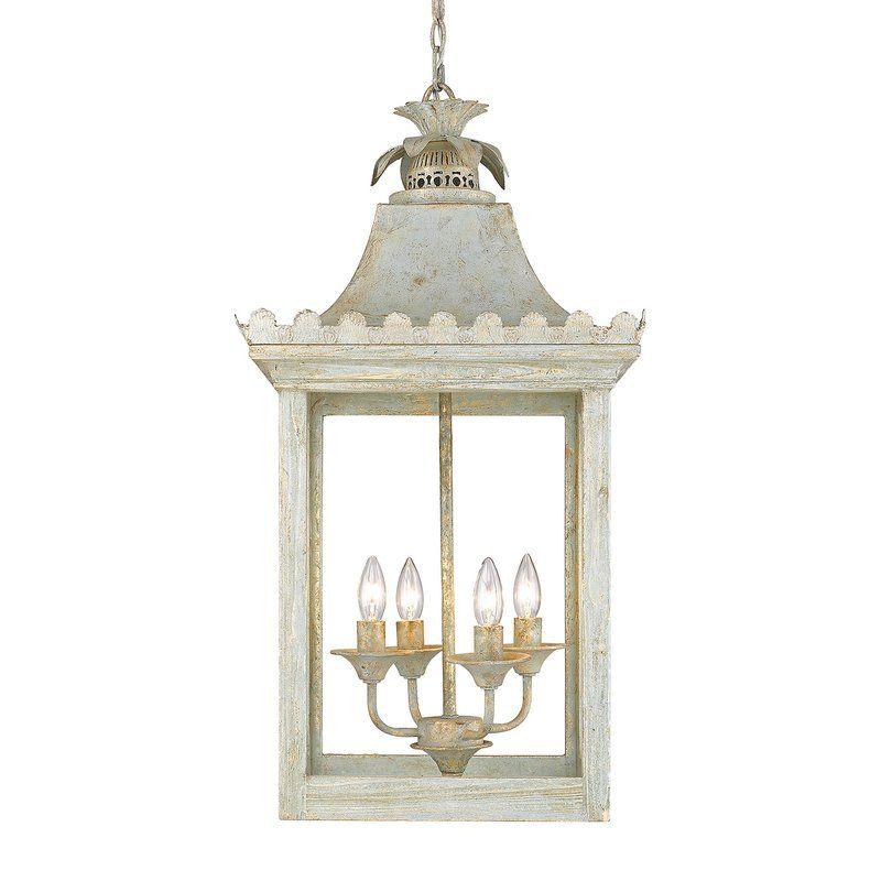 Darcelle 4 Light Rectangle Pendant Golden Lighting Lantern