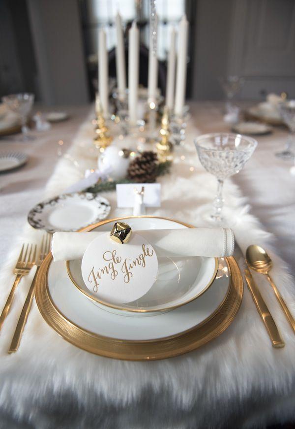 White Fur Table Runner Christmas Table Holiday Table Settings Christmas Table Settings