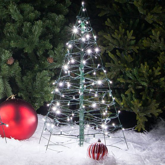 3 lighted cool white led outdoor christmas tree place lighted trees in various size and colors in the yard or down walkways and the driveway - Cool White Outdoor Christmas Decorations