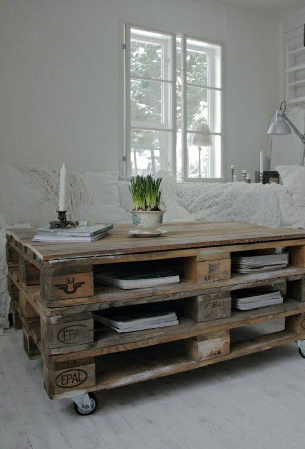 diy möbel couchtisch stauraum fächer räder wohnen Pinterest - wohnzimmertisch aus paletten