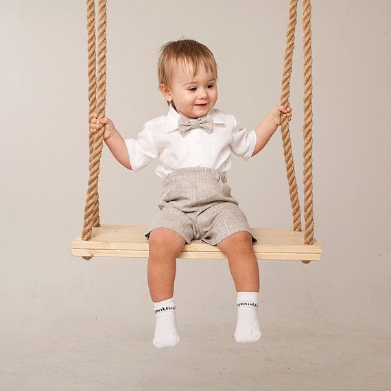 Baby boy linen suit wedding ring bearer outfit boy by Graccia ...