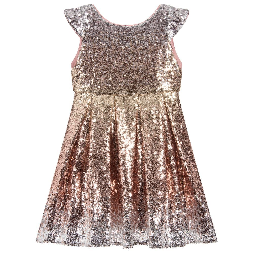 e4f79475 Girls silver, pink and gold sequin dress from Wild & Gorgeous. Great for  parties and special occasions, this shimmery design has a fitted bodice with  capped ...