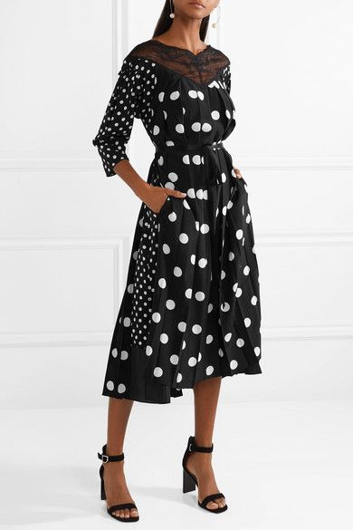 47204b2a3de3 ... CLOSET | Marc Jacobs' Charming Black & White, Double-Dot Midi-Dress is  made from Silk Crepe de Chine, with Long Sleeves and a Lace-Trimmed  V-Neckline on ...