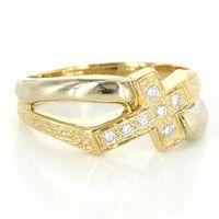 Vintage 18 Karat Yellow Gold Diamond Men Religious Cross Ring Sz 11 Estate