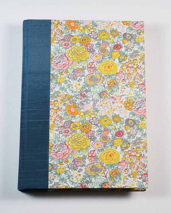 "GIFT FOR WRITERS- Blank Journal Notebook Lined Paper ""PRIMROSE"" by WolfiesBindery, $25.00 Italian Decorative Paper, Lined Paper Book, Antioch Bookplate, Binders Board, Woven Headband, Bookcloth, Satin Ribbon"