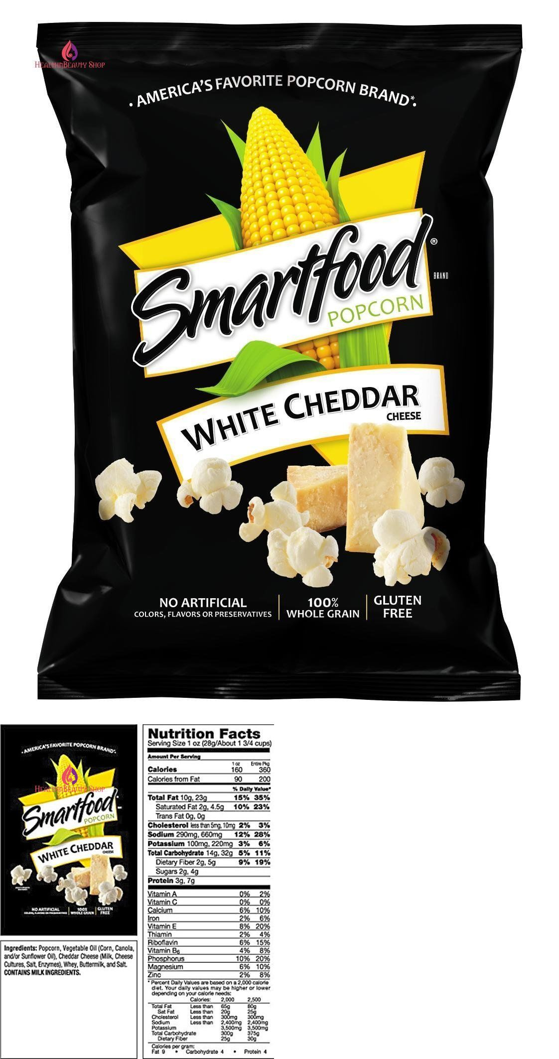 Popcorn 179181 Smartfood White Cheddar Flavored Popcorn 1 Ounce Pack Of 64 Buy It Now Only 46 86 O Cheddar Popcorn Cheese Popcorn White Cheddar Cheese