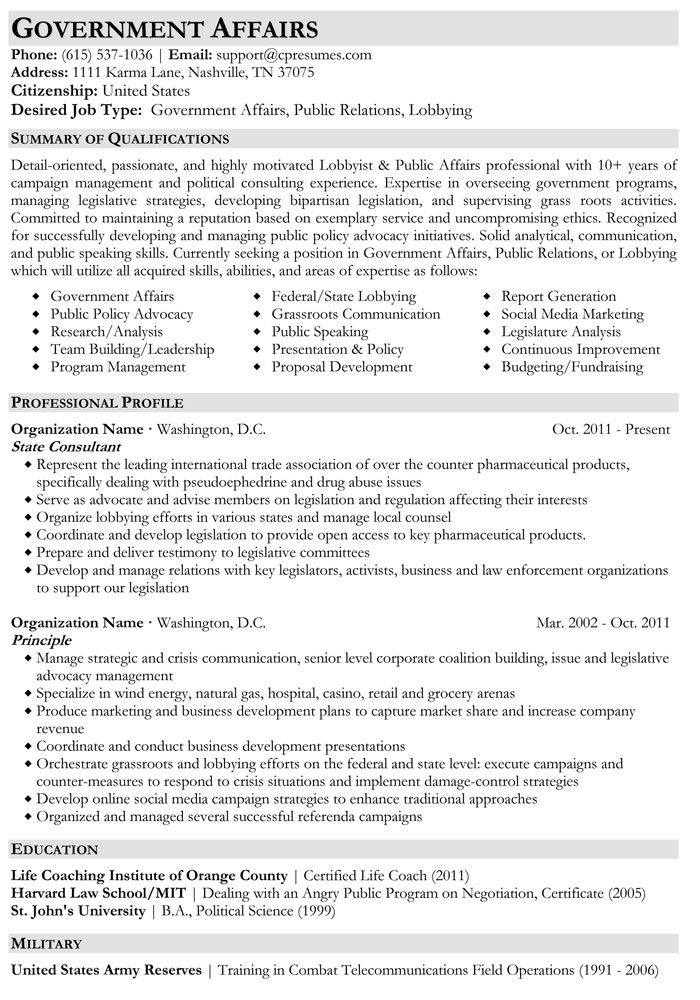 Government Affairs Resume Sample job hunt Pinterest Resume