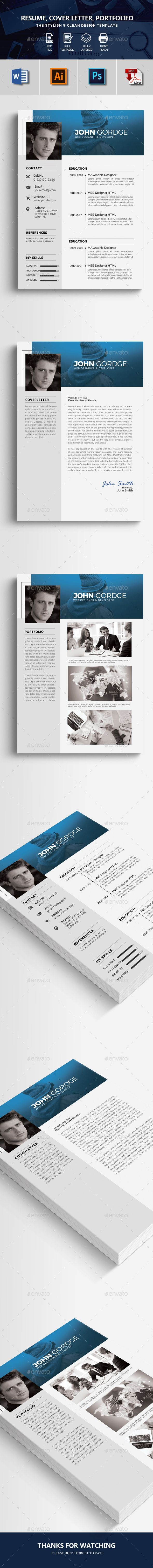 Clean Resume Template Psd Ai Ms Word  Resume