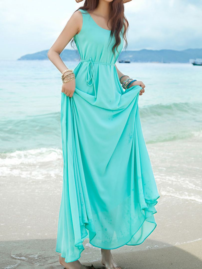 Bule vest chiffon maxi dress with tie fashion pinterest