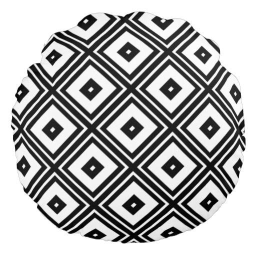 Black and White Diamond Squares Round Throw Pillow Round Pillow