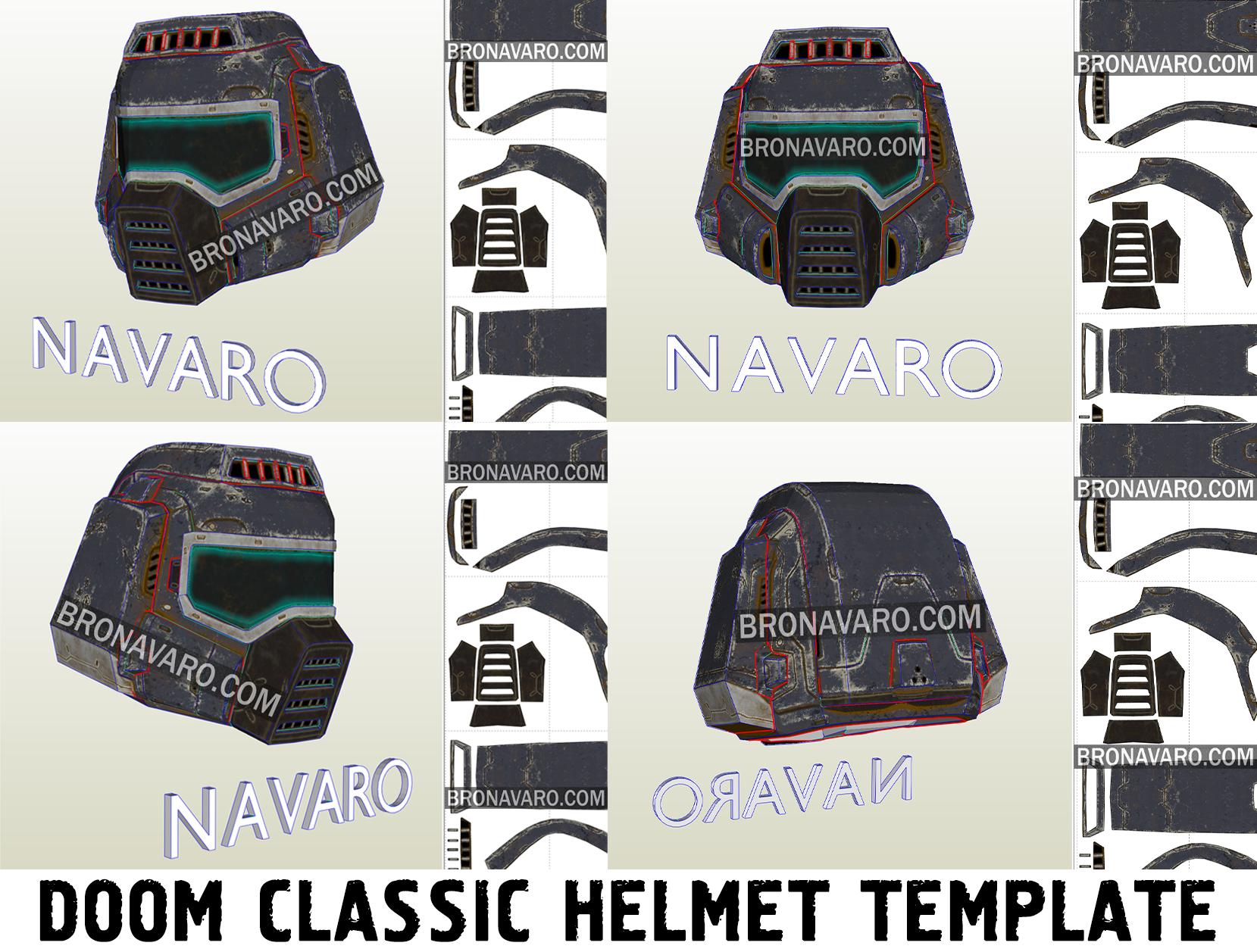 Doom Guy Classic Helmet Foam Template Doomguy Helmet Pattern Doom Helmet Pepakura Templates Doom Classic Best Templates