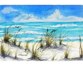 Aquarelle De Paysage Marin Peinture Plage Decor Cotier Sable