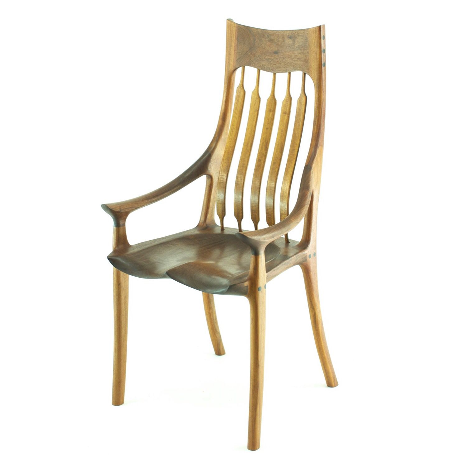 Sam Maloof style sculpted dining chair features bent