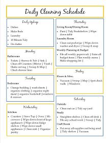 Daily Cleaning Schedule Definitely Need This  For The Home