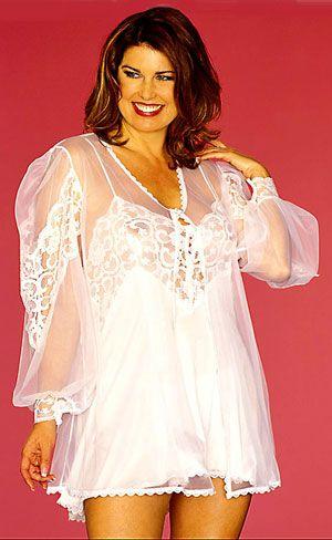 df47fcc0882 Pajama Shoppe  Women Plus Size Babydoll Peignoir Set in Lace