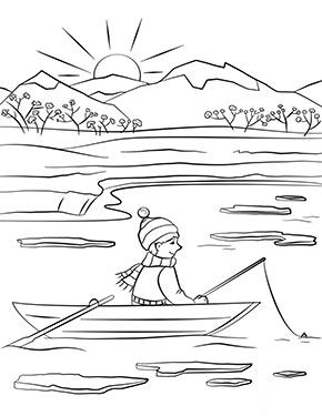 ausmalbild frühling - fischen im boot zum ausdrucken und ausmalen. ausmalbilder | malvorlagen