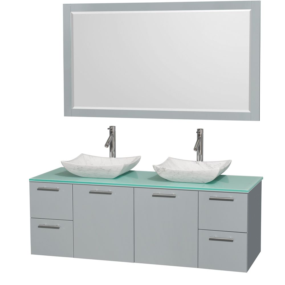 Wyndham Wcr410060ddggggs3m58 Amare 60 Double Bathroom Vanity In