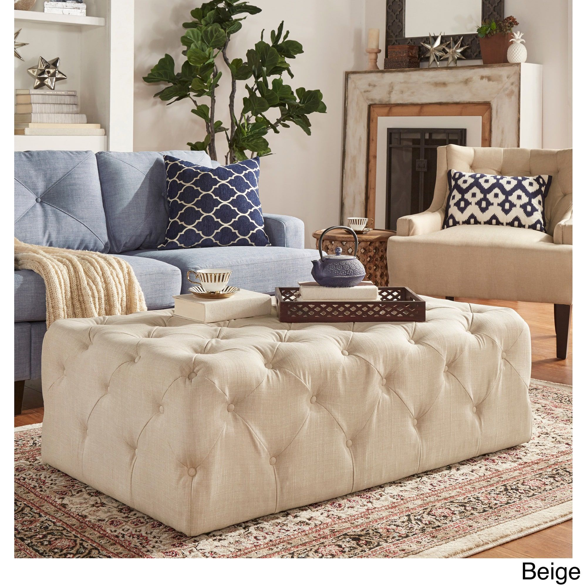 Knightsbridge Rectangular Traditional Tufted Cocktail Ottoman with Casters  by iNSPIRE Q Artisan (