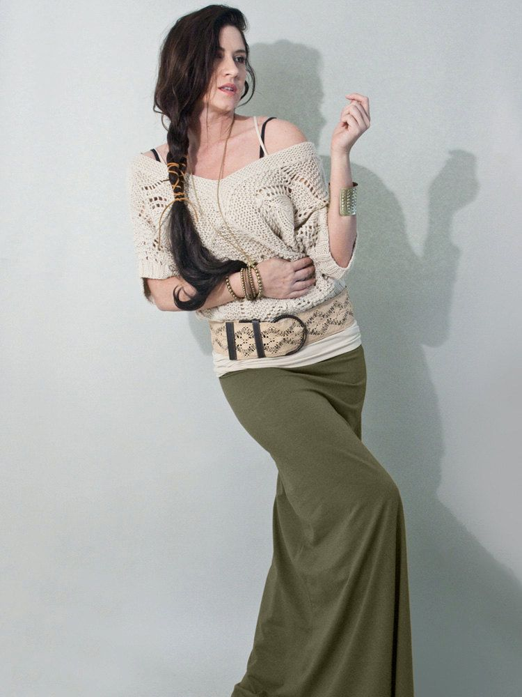 1937259090 Maxi Skirt Long Womens Olive Opaque Free Shipping on by LOFT415, $29.00