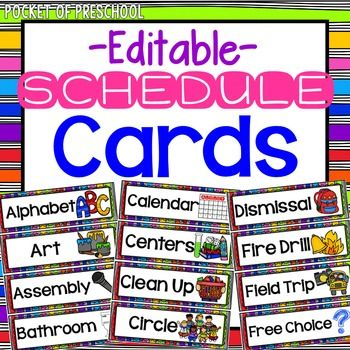 Bright, Rainbow EDITABLE Schedule Cards Schedule cards, Visual