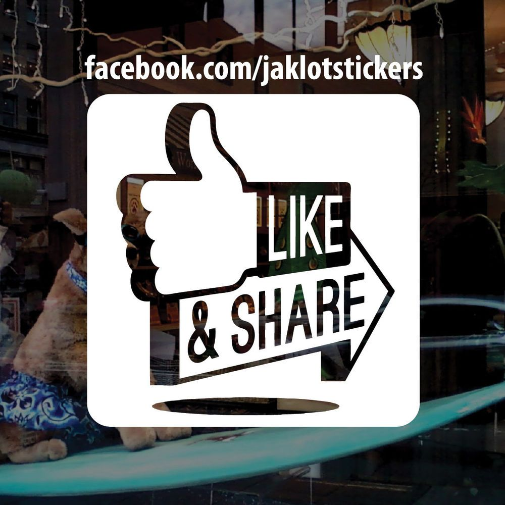 Personalised facebook like and share vinyl window sticker decal
