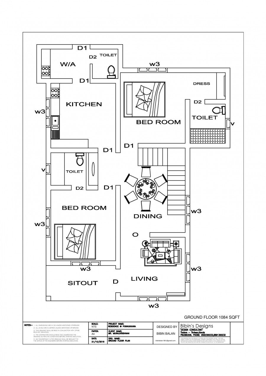 Free House Plan 1511 sq ft 3 Bedroom Simple Home Design | Bedroom simple