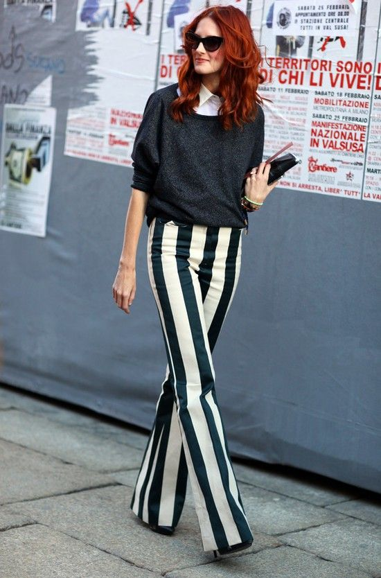 TTH in Milan  Top:Grey Sweater  Pants:Green and White Striped Flared Pants  Photo By:Phil Oh